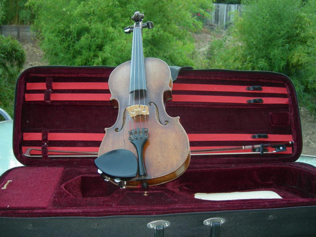 violin displayed in case